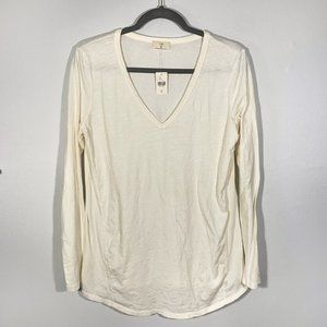 Anthropologie t.l.a. Long Sleeve Ivory Tee Size M